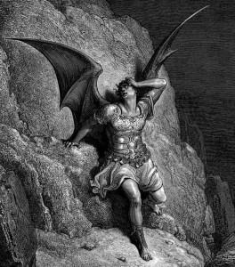 "Darstellung des Satan in John Miltons ""Paradise Lost"" (Quelle: http://upload.wikimedia.org/wikipedia/commons/9/90/GustaveDoreParadiseLostSatanProfile.jpg)"
