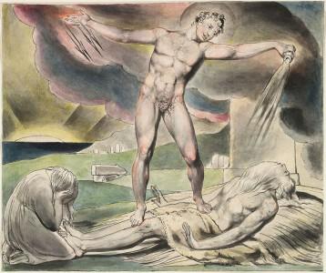 Satan plagt Hiob, um ihn auf die Probe zu stellen. (Quelle: http://en.wikipedia.org/wiki/File:Blake_Book_of_Job_Linell_set_6.jpg
